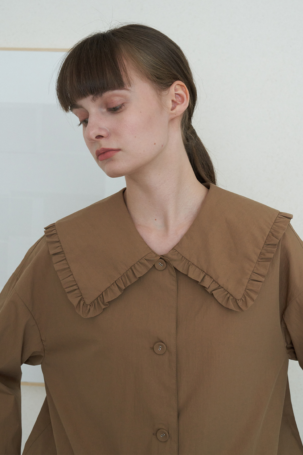 [BROWN]ruffle big collar jacket